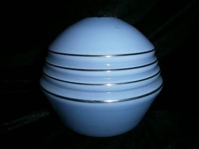 Blue Glass Globe French Art Deco Lamp Light Shade Vintage