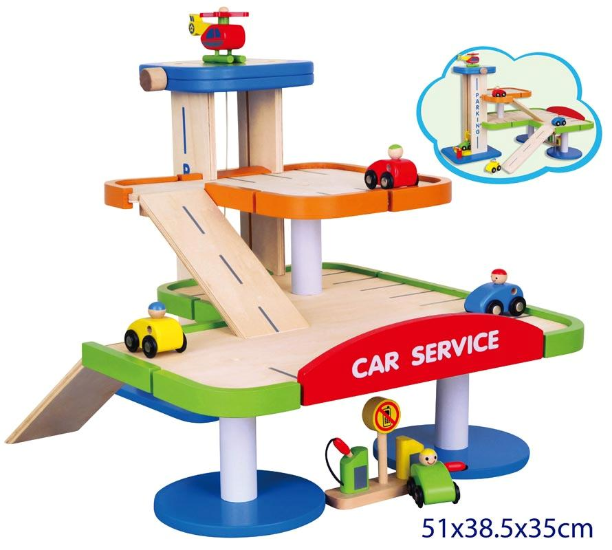 New Wooden Toy 3 Level Car Parking Garage W Cars