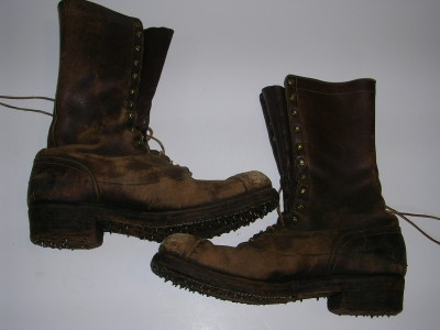 Vintage Logging Work Boots Union Made Bergmann Portland Or