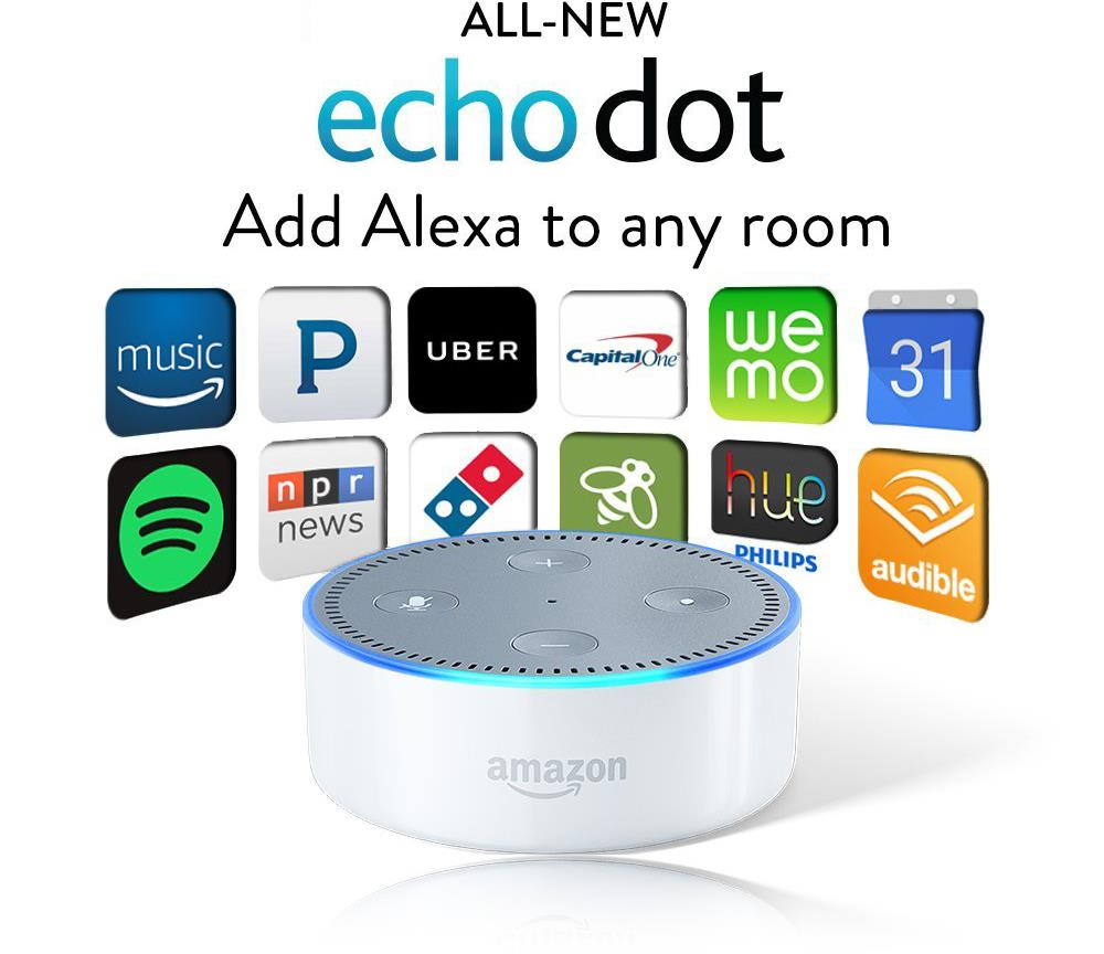 all new 2016 amazon echo dot 2nd generation w alexa voice. Black Bedroom Furniture Sets. Home Design Ideas