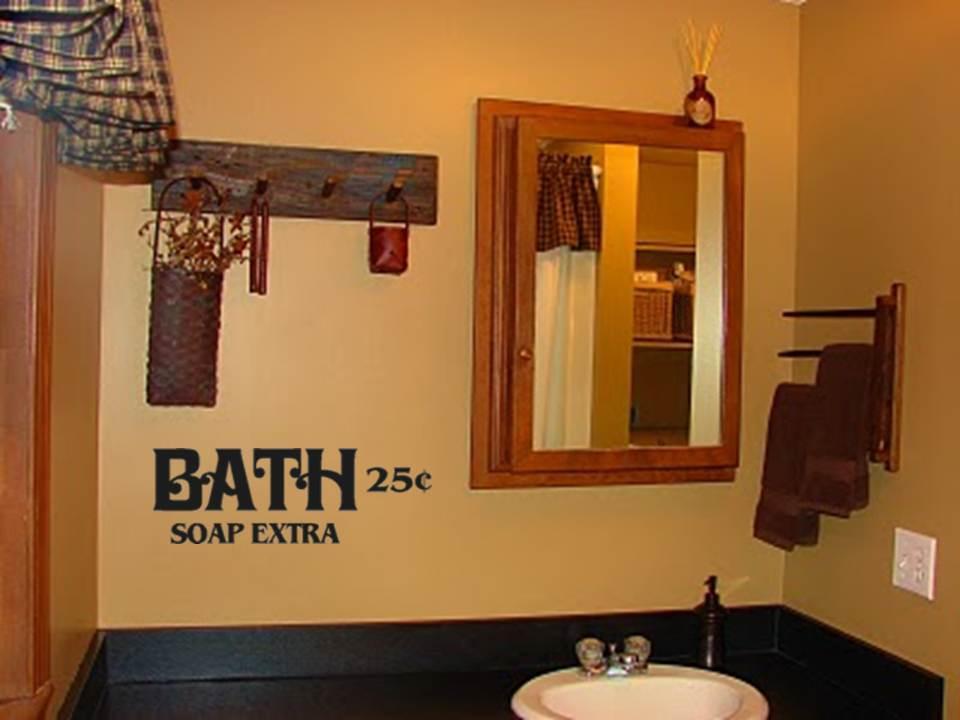 Bathroom Wall Decor: Bath Soap Extra Primitive Bathroom Decor Vinyl Wall Art