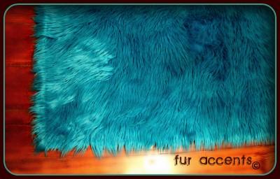 Teal Shag Bear Skin Accent Rug Faux Fur Rug Fake Sheepskin
