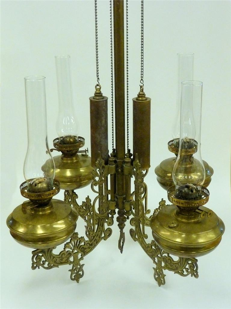 Antique Brass Bronze Victorian Style Oil Lamp Chandelier