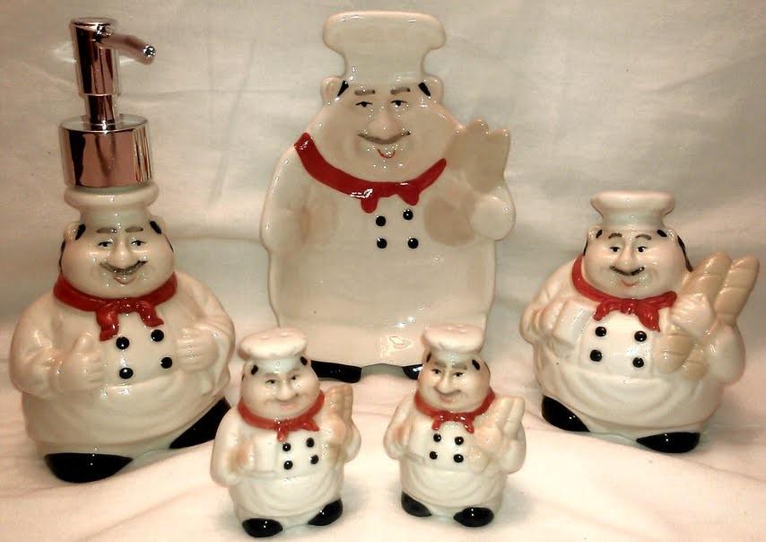 Fat Chef French Cafe Baker Italian Bistro Ceramic Decor Kitchen 5 Pc Set Lot On Popscreen