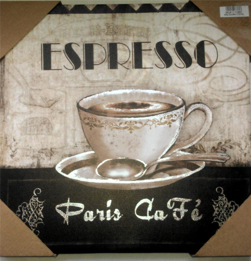 Coffee Themed Kitchen Curtains: COFFEE THEME ESPRESSO PARIS CAFE BISTRO CANVAS PICTURES