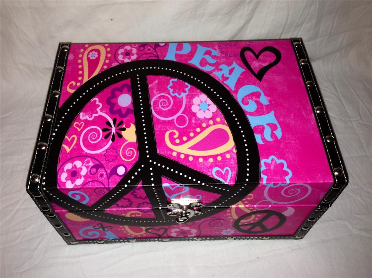 Peace Sign Bedroom Accessories: Rock Star Peace Sign Storage Box Bed Dorm Home Media Room