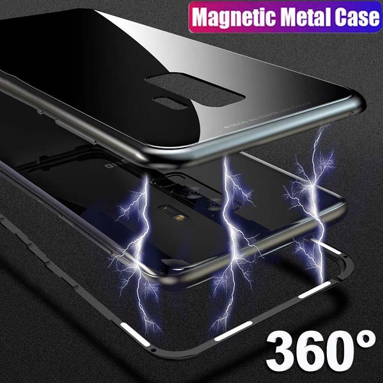 Samsung S7 S8 S9 Plus Magnetic Absorption Metal Case Tempered Glass Luxury Cover