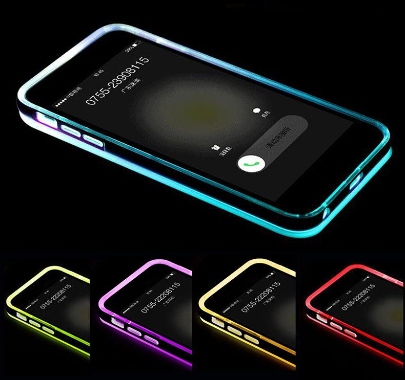 led iphone 5s case led flash light up remind incoming call cover skin 5722