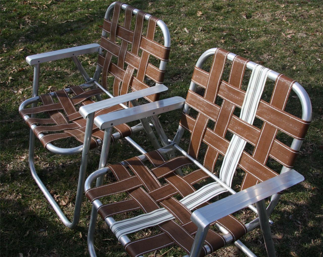2 Retro Aluminum Retro Folding Lawn Chair Mid Century