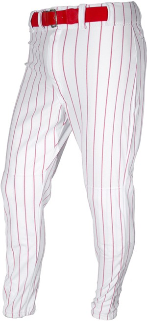 ALL-STAR Youth Pinstripe Baseball Pants. Youth Pinstripe Medium Weight Poly Knit Pants with two snap front and brass zipper. Three tunnel style loops and a single loop in front, 2 1/2