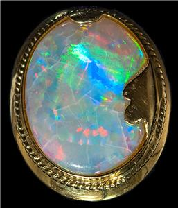 Violet Flame Opal Ring 18mm x 13mm Certificate of Authenticity Included 925 Sterling Silver Exquisite Detail Museum Quality Oval Cabochon
