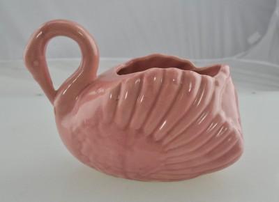 Vintage Midcentury Rose Pink Swan Pottery Vase Planter
