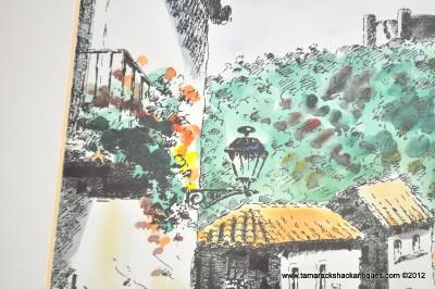 Vintage Signed Diaz Watercolor European Street Scene