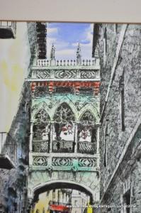 Vintage Signed Watercolor European Street Scene Diaz