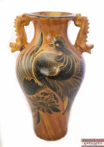Vtg 19 5 Quot Large Mexican Pottery Handled Floor Vase Black Rooster Woodgrain Motif Ebay