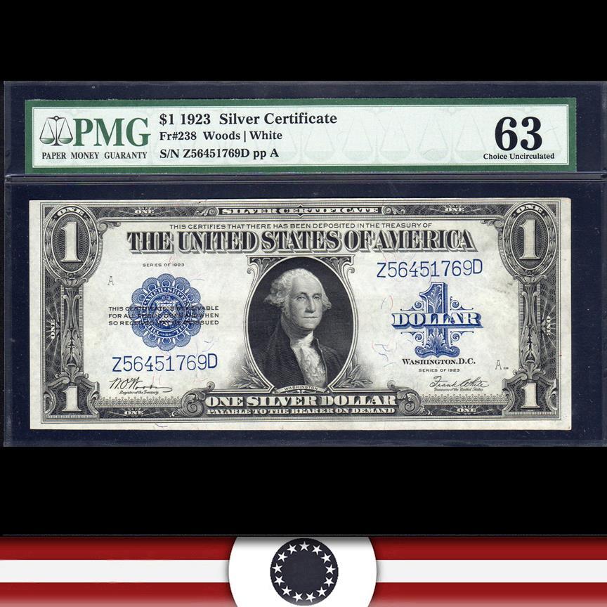 1923 $1 Silver Certificate Fr 238 PMG 63 *HORSEBLANKET*  Z56451769D