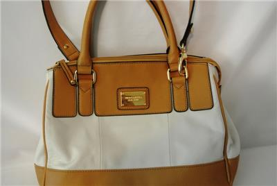 86e7ad72aa White Tan Pebbled Leather Satin Lining Handles and Removable shoulder  strap. Zip pocket on back. Interior lots of pockets some zippered others  slip