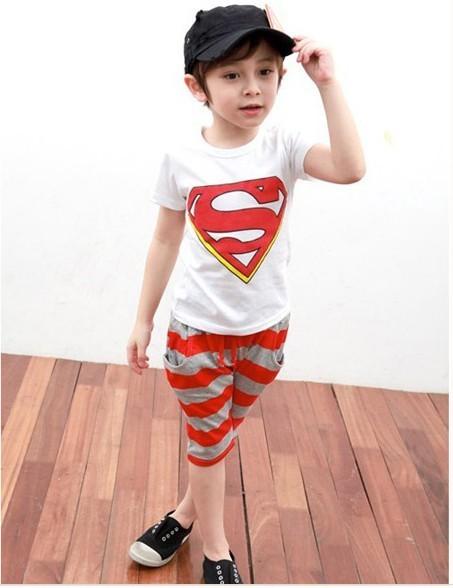 Toddlers Kids Superman Suits Fancy Superhero Costume T Shirt Pants Sets 2 3years