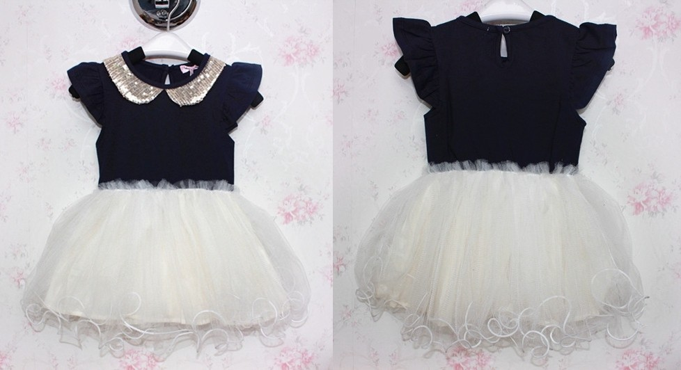 Kids Toddler Sequin Lapel Collar Princess Tutu Skirt Girls Pageant Dress 6 7Year