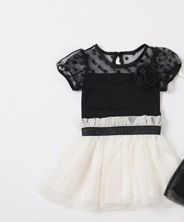 Casual Kids Toddler Girls White Black Flower Princess Skirt Tutu Mini Dress 2 7Y