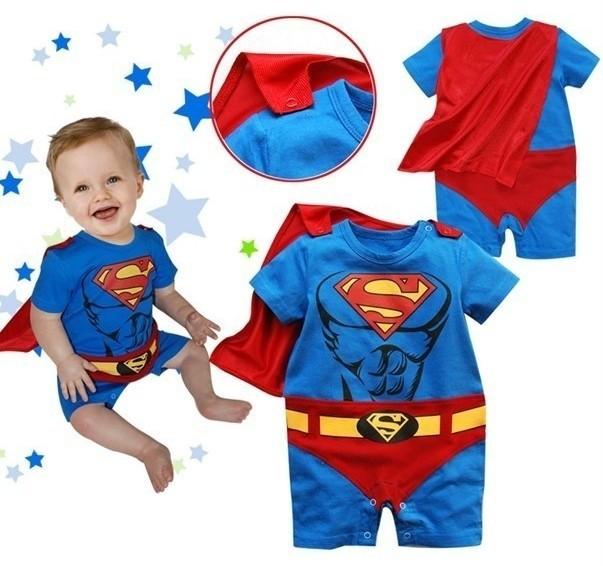 Superman Suit Fancy Dress Superhero Costume for Girl Toddler Kid Boy Romper Gift