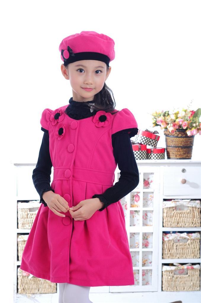 XM Gifts Girls Baby Floral Princess Sundress Fleece Skirt Kids Formal Dress Hat