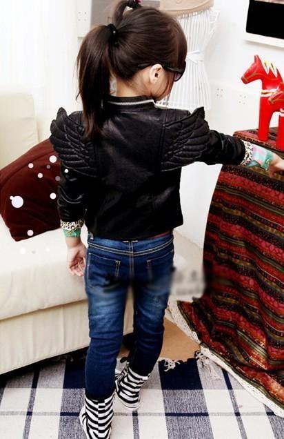 Baby Toddler Boys Girls Faux Leather Back Angel Wing Coat Kids Locomotive Jacket