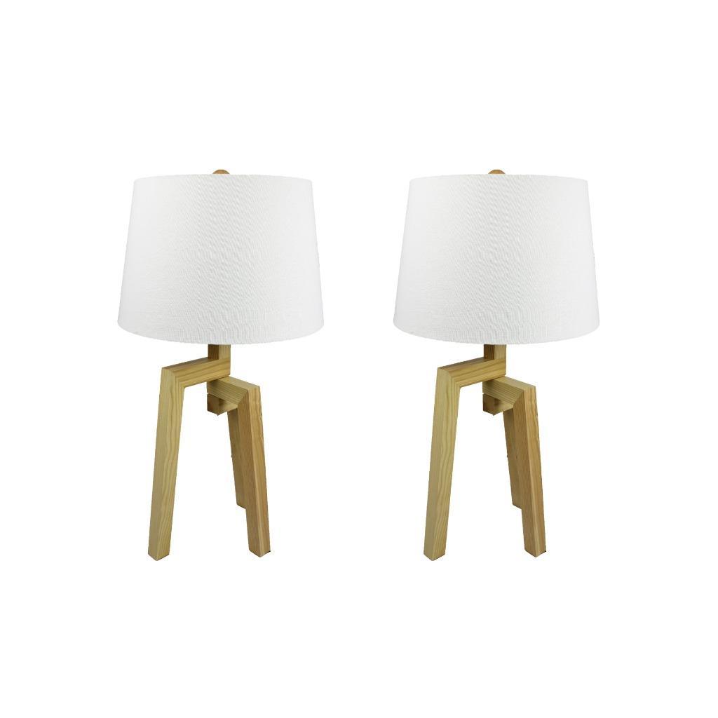 Pair Of Modern Vantage Wooden Bedside Table Lamps Lights Timber Base Ttl360 Ebay