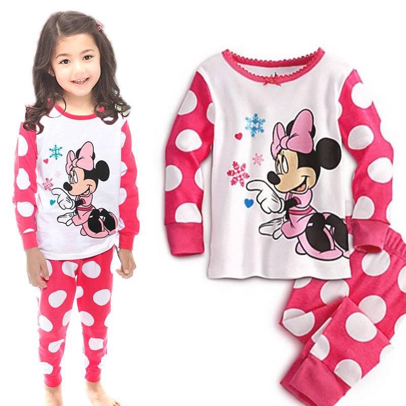 """Baby Toddler Girls Kids Loungewear """"Minnie Mouse"""" Polka Dot Pajamas Sets Gift 5T"""