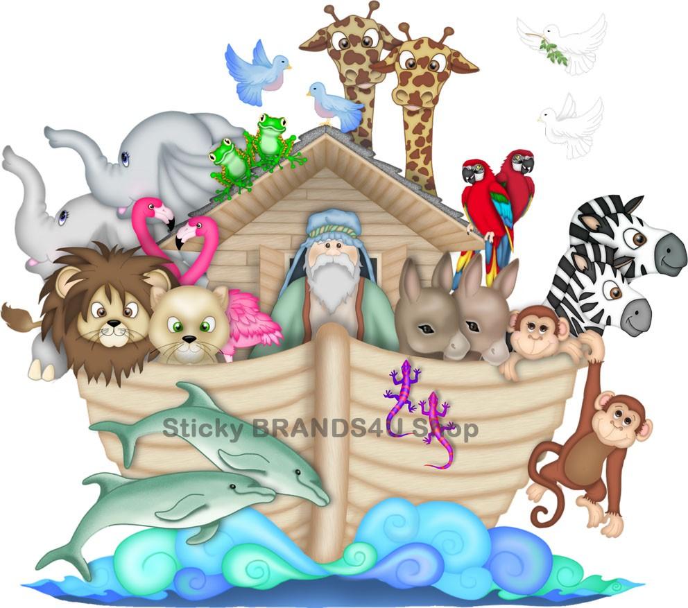 NOAHS ARK LARGE WALL STICKER Decal VINYL Cartoon Room Art Kids - Wall decals noah's ark