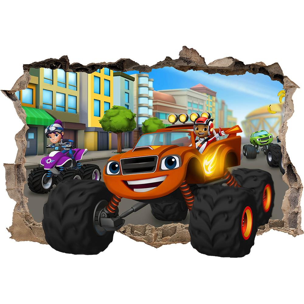 Monster Truck Wall Stickers Part - 31: BLAZE AND THE MONSTER MACHINES MSMASHED WALL STICKER - BEDROOM ART BOY  VINYL   EBay