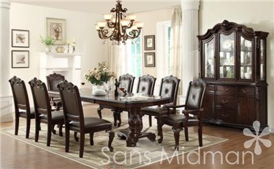 NEW Kira 12 pc Formal Dining Set Table w 2 leaves 10 chairs