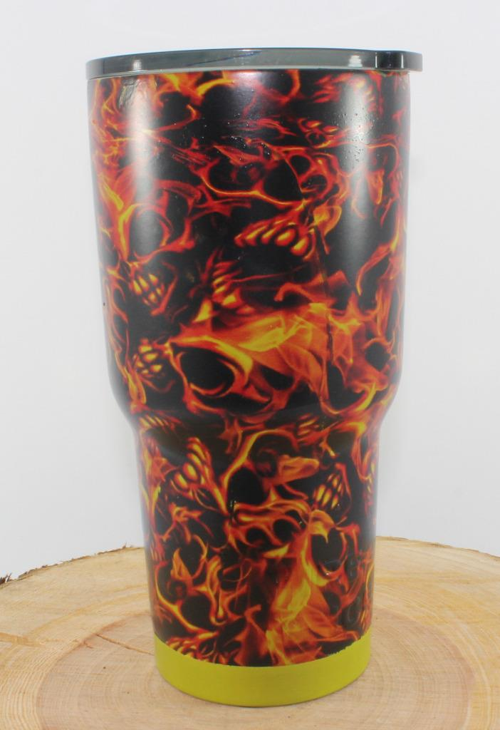 New 30oz Hydro Dipped Stainless Steel Red Flaming Skull