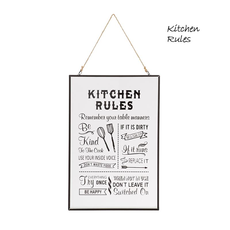 30x20cm Inspiration Wall Hanging Laundry Kitchen Rules