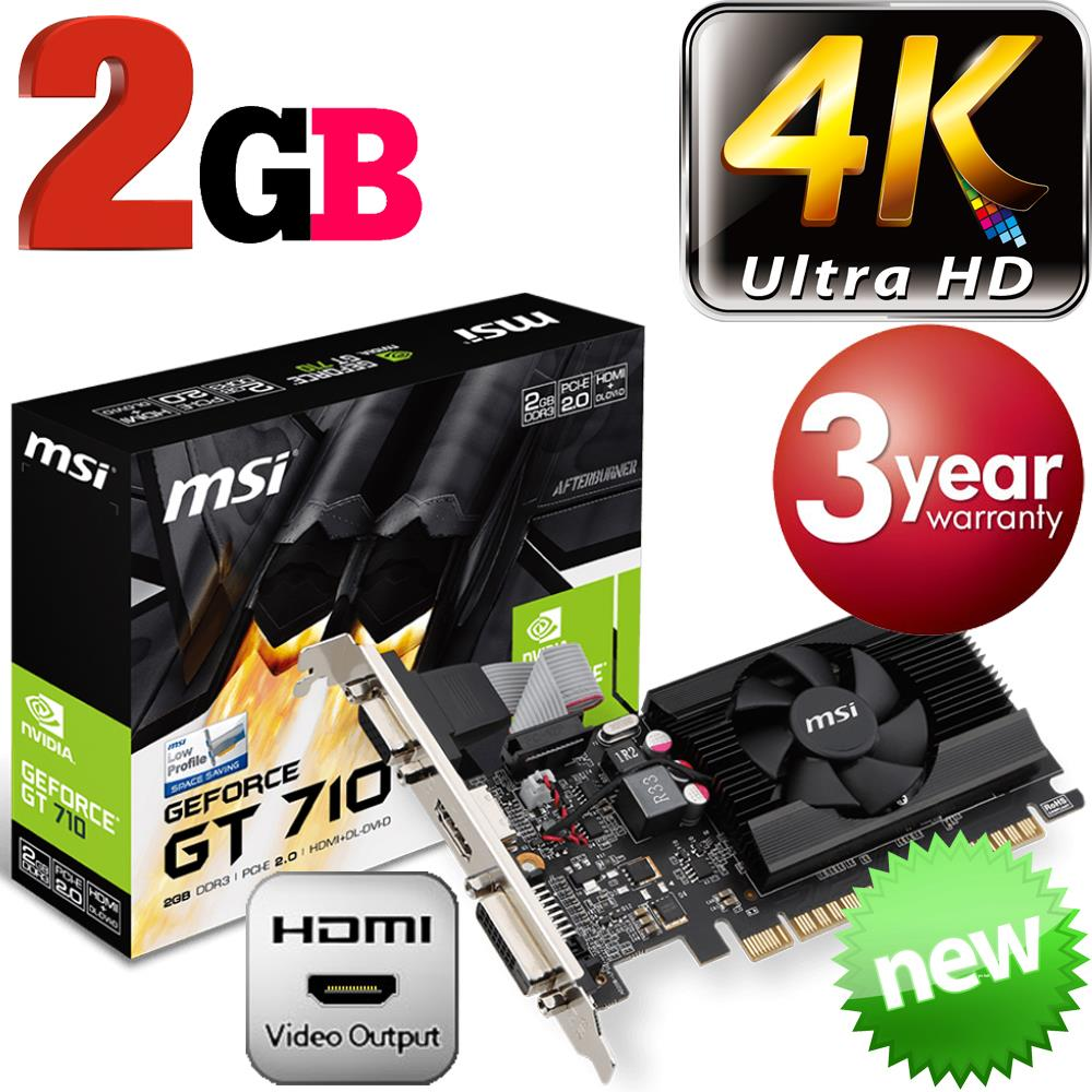 MSI Nvidia GeForce GT710 2GB 4K Graphics Card 2-LCD Monitor Low Profile NEW | eBay
