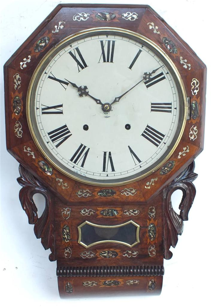 Kitchen Wall Clock Drop Dial Walnut Clock Antique