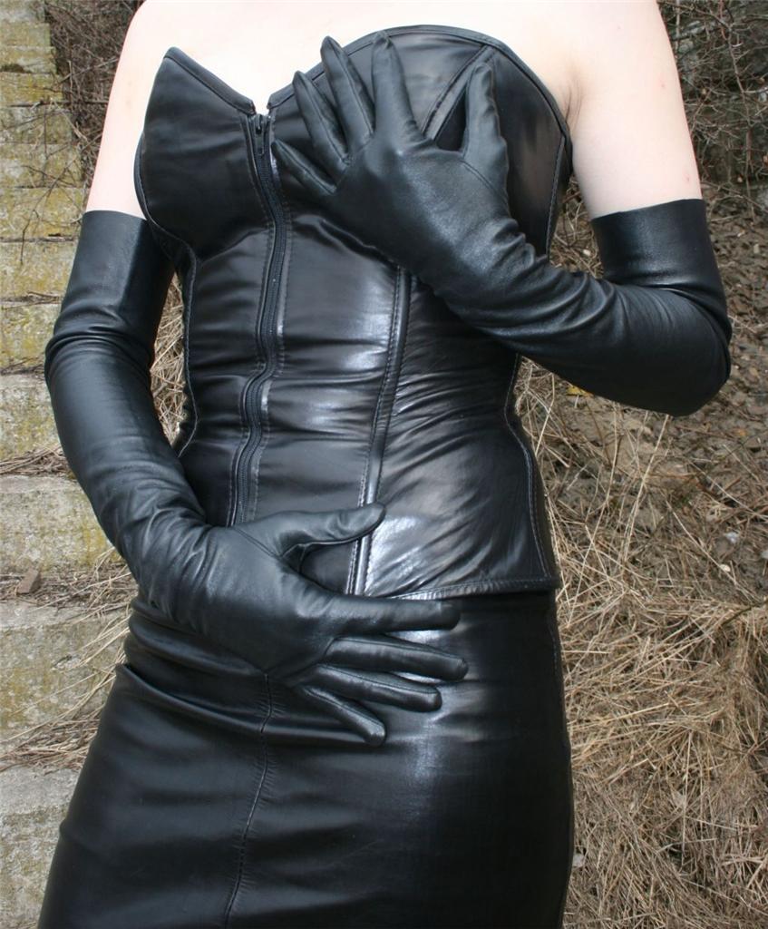 24,5'' (62 cm) long black opera leather gloves size 6,5 ...