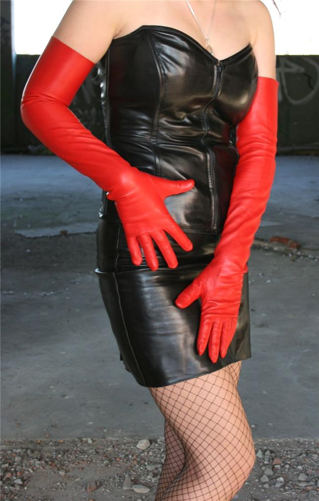 17'' (43 cm) long red elbow leather gloves size 7''