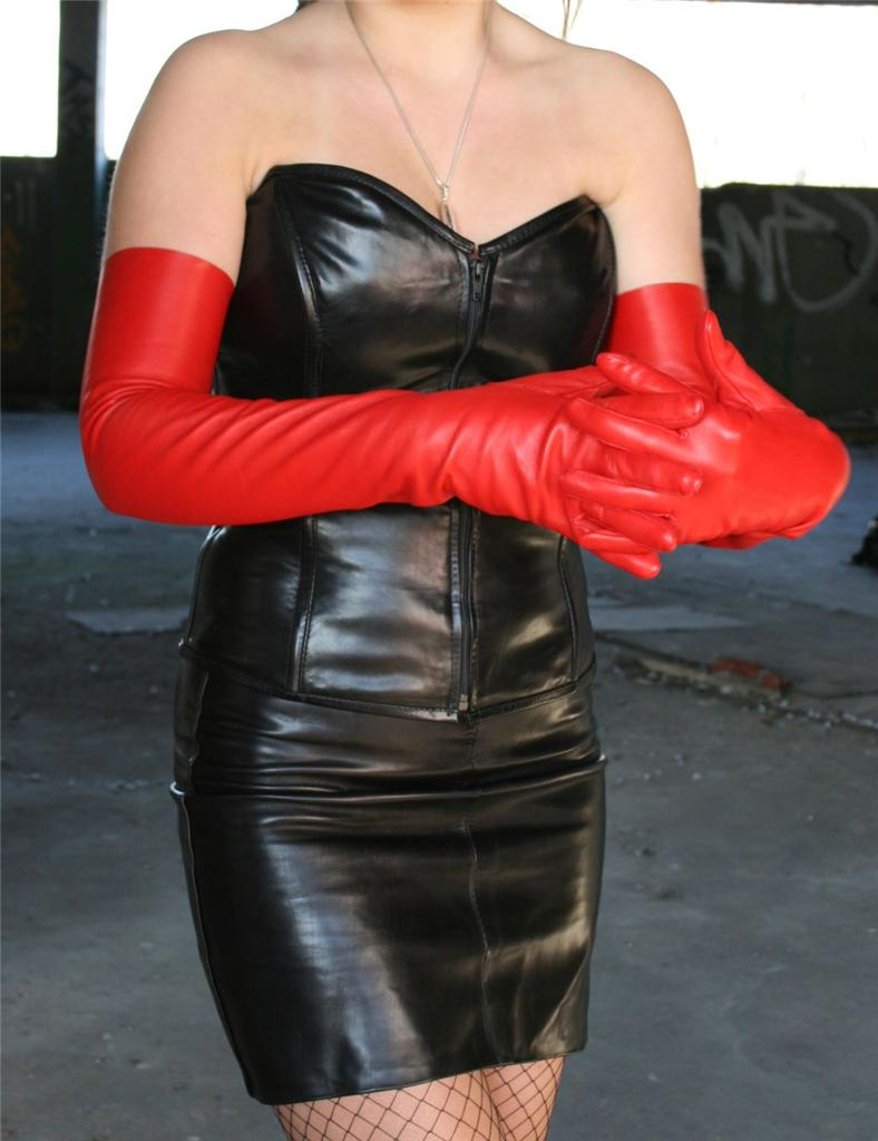 17'' (43 cm) long red elbow leather gloves size 7'' | eBay