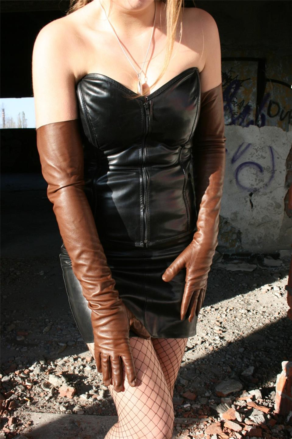 Brown leather opera gloves