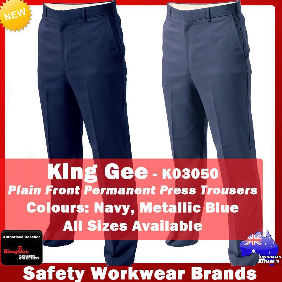 king gee plain front permanent press pants trousers work office blue navy k03050 ebay. Black Bedroom Furniture Sets. Home Design Ideas