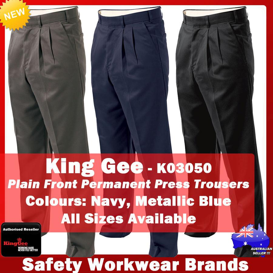 king gee pleat front permanent press pants trousers work black slate navy k03550 ebay. Black Bedroom Furniture Sets. Home Design Ideas