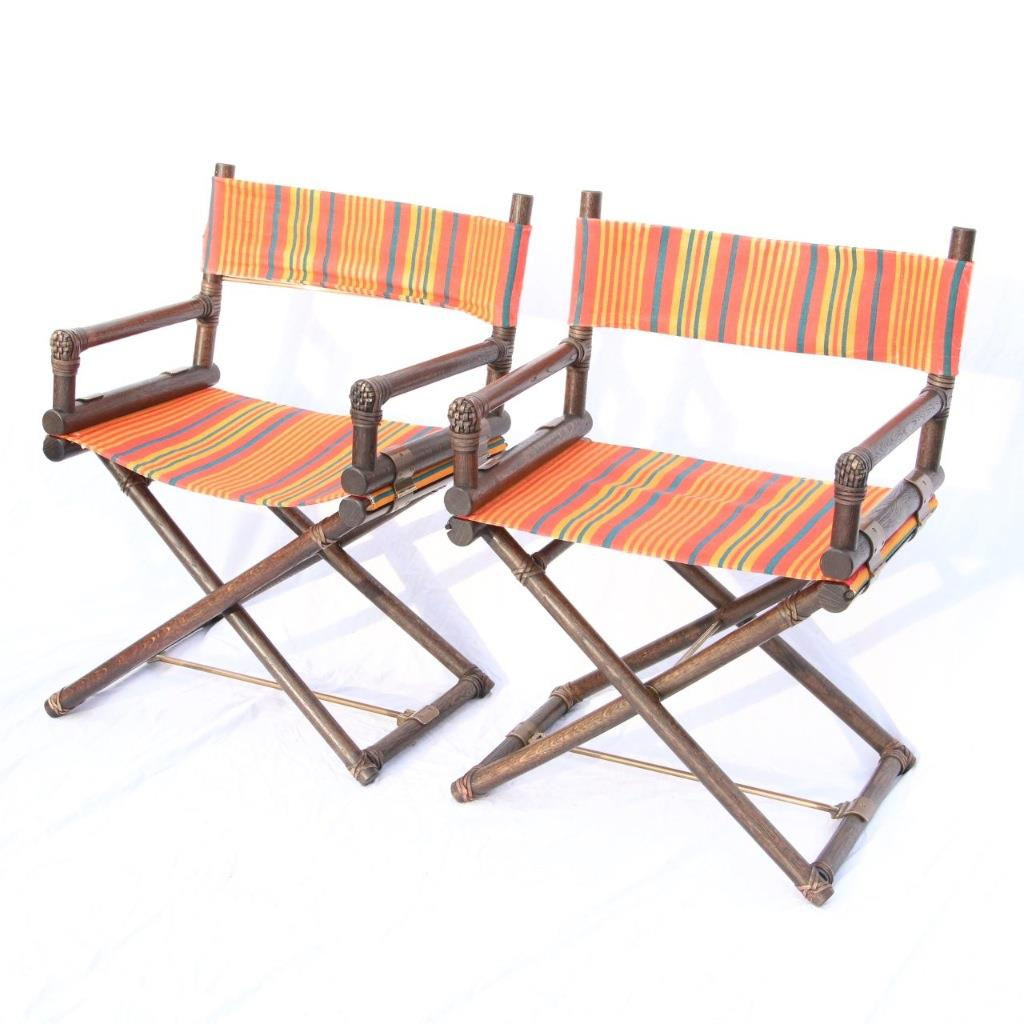 4 Vintage Mcguire Director S X Chairs C1960 Brass Leather