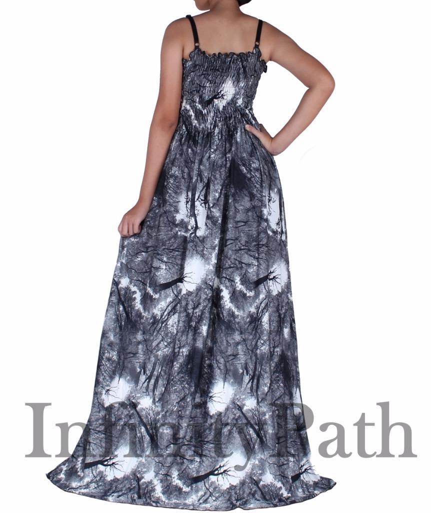 Details about Women Plus Size Maxi Artistic Black White Flare Skirt Summer  Beach Party Dresses