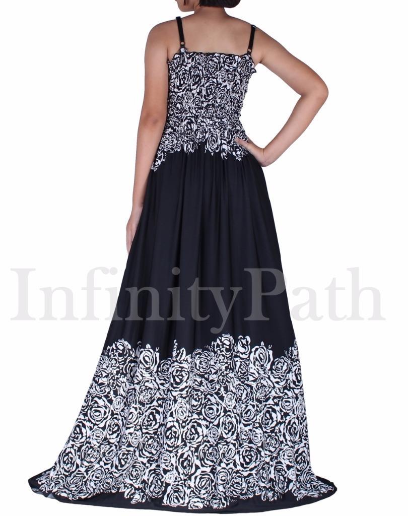 Details about Women Plus Size Black Summer Party Maxi Flare Boho Long Dress  XL 1X B&W Florals