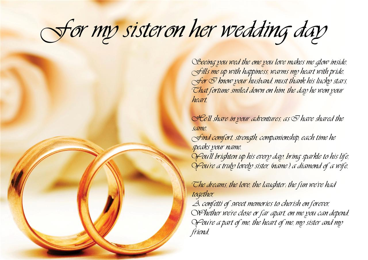 My Sister Marriage Quotes: Personalised Poem Poetry For Bride Daughter From Parents