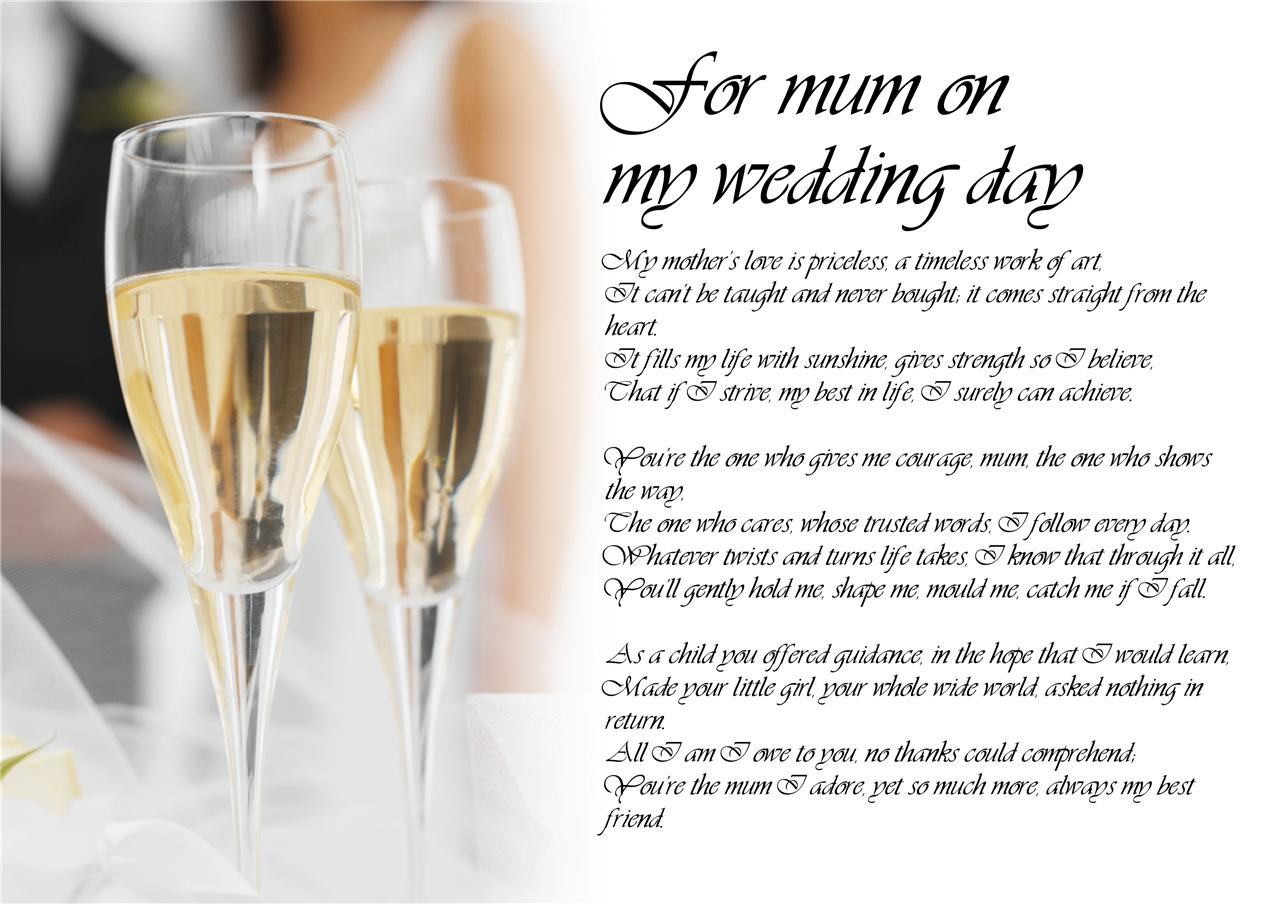 Personalised Poem Poetry For My Sister Bride On Her Wedding Day Laminated Ebay