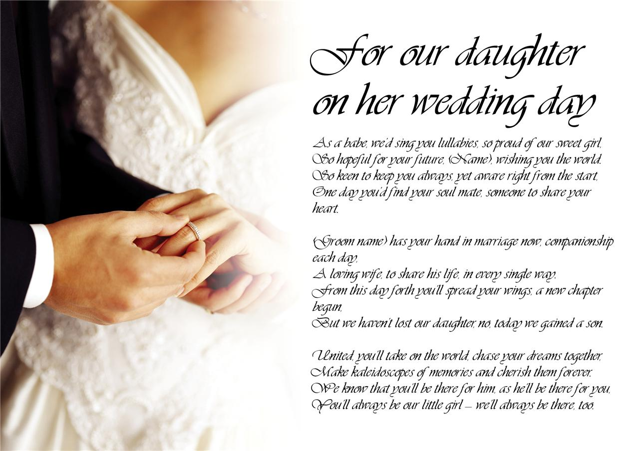 Personalised Poem Poetry For Bride Daughter From Pas Wedding Day Laminated