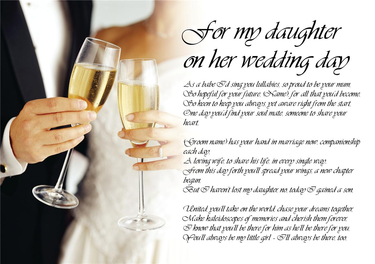 Gift For My Husband On Our Wedding Day: Personalised Poem Poetry For Bride Daughter From Parents