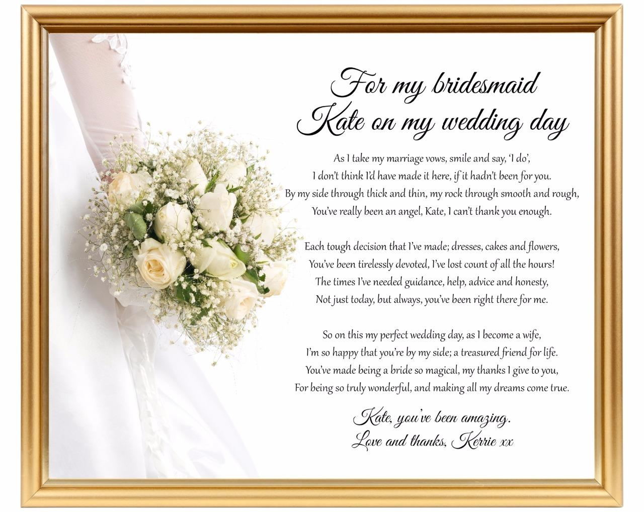 Wedding Gift Poem For Bridesmaids